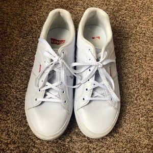 LEVIS White & Glitter Lace Up Flat Tennis Shoes 8